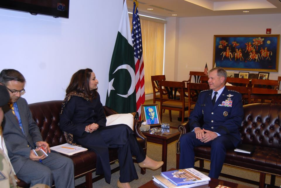 General William M. Fraser, Commander, US Transportation Command (USTRANSCOM) called on Ambassador Sherry Rehman at the Embassy of Pakistan Washington DC on Monday, February 4, 2013.