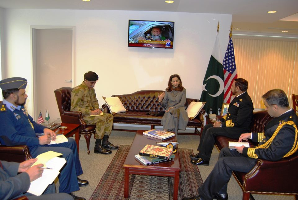 Vice Chief of Naval Staff Vice Admiral Muhammad Shafique called on Ambassador Sherry Rehman at the Embassy of Pakistan, Washington, DC on January 25, 2013.